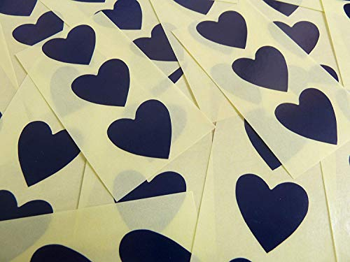 28x28mm Navy Dark Blue Heart Shaped Labels, 60 Self-Adhesive Colour Code Stickers, Sticky Hearts for Craft and Decoration from Minilabel