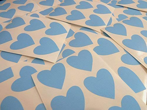 "38mm (1.5"") Heart Shape Colour Code Stickers - Packs of 72 Large Coloured Hearts Sticky Labels for Craft, Card-Making & Decoration - 33 Colours Available (Light Blue) from Minilabel"