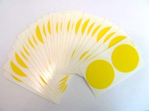 40 Labels, 50mm Diameter Round, Yellow, Plastic/Vinyl Colour Code Stickers, Self-Adhesive Sticky Dots from Minilabel