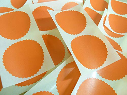 50mm Serrated Edge, Pearlescent Orange, Certificate Wafer Company Seal Labels, Stickers for Embossing, Awards & Rewards from Minilabel