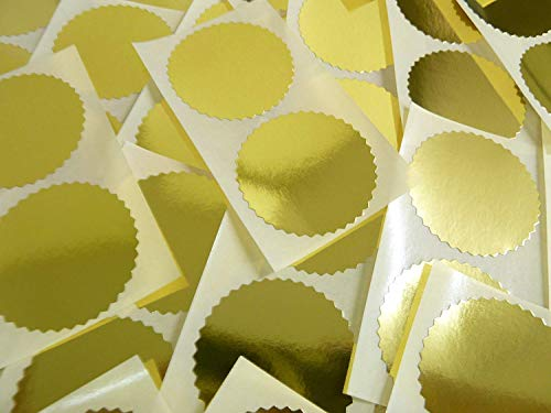 50mm Serrated Edge , Shiny Gold , Certificate Wafer Company Seal Labels , Stickers for Embossing , Awards & Rewards from Minilabel