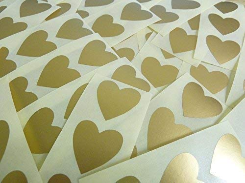60 Labels, 28x28mm Hearts, Matt Gold, Colour Code Stickers, Self-Adhesive Sticky Coloured Hearts from Minilabel