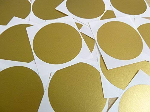 "65mm (2.6"") Round Circular Colour Code Stickers - Packs of 25 Large Coloured Circles, Sticky Labels - 32 Colours Available (Matt Gold) from Minilabel"
