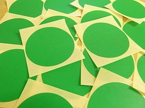 "65mm (2.6"") Round Circular Colour Code Stickers - Packs of 25 Large Coloured Circles, Sticky Labels - 32 Colours Available (Mid Green) from Minilabel"