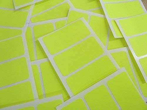 65x30mm Rectangular Colour Code Stickers - Packs of 45 Coloured Rectangle Sticky Labels - 30 Colours Available (Fluorescent Bright Yellow) from Minilabel