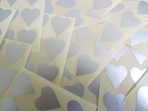 90 Labels, 22x20mm Hearts, Matt Silver, Colour Code Stickers, Self-Adhesive Sticky Coloured Hearts from Minilabel