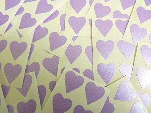 90 Labels, 22x20mm Hearts, Purple, Lilac, Colour Code Stickers, Self-Adhesive Sticky Coloured Hearts from Minilabel