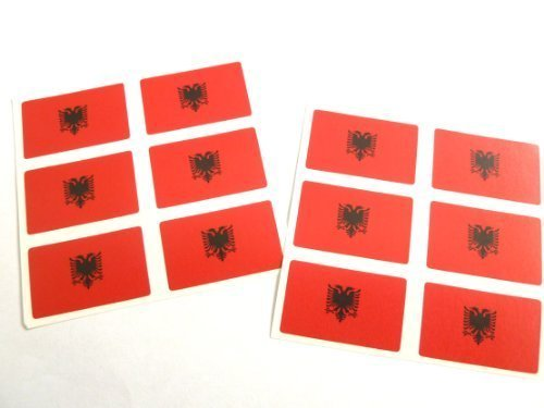 Mini Sticker Pack, 33x20mm Rectangle, Self-Stick Albania Labels, Albanian Flag Stickers from Minilabel