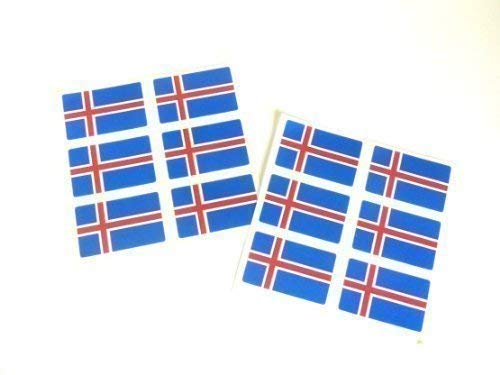Mini Sticker Pack, 33x20mm Rectangle, Self-Stick Iceland Labels , Icelandic Flag Stickers from Minilabel