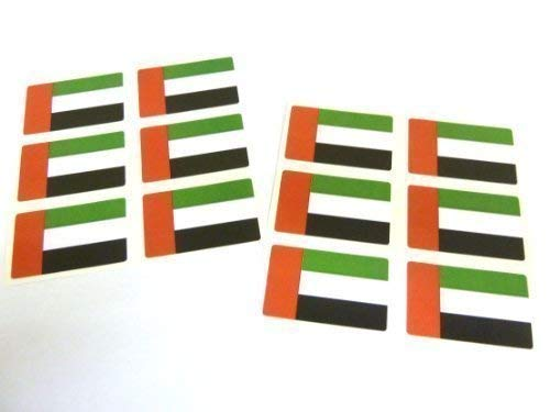 Mini Sticker Pack, 33x20mm Rectangle, Self-Stick United Arab Emirates Labels, UAE Flag Stickers from Minilabel