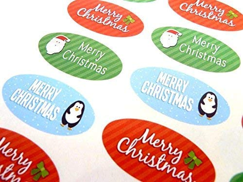Pack of 48 Merry, Happy Christmas Oval Stickers, Colourful Envelope Seals Labels for Cards, Festive Craft and Decoration from Minilabel