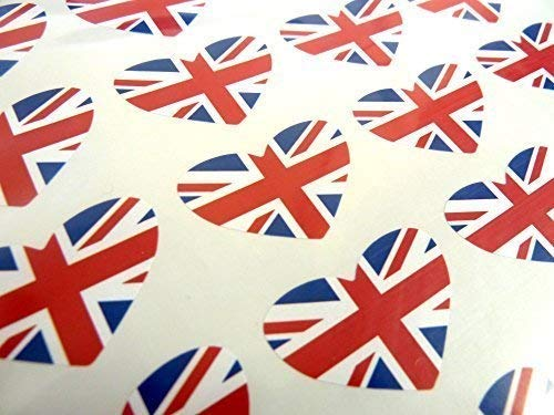 Pack of 50, Heart Shape 35x23mm, Union Jack British Self-Stick GB Flag Labels Great Britain Stickers from Minilabel