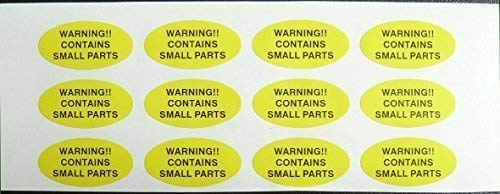Warning Stickers, Warning!! Contains Small Parts, 40x20mm Oval Self-Adhesive Warning Labels from Minilabel