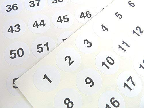 White 25mm Round Consecutive, Sequential Number Sequence Labels, Numbering Stickers, from 1-70 from Minilabel
