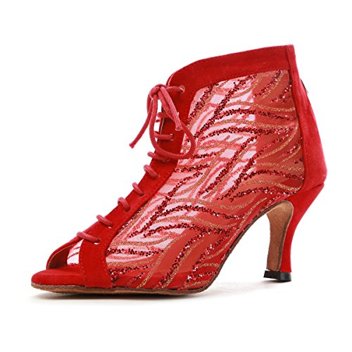 MINITOO GL263 Ladies Peep Toe Lace-up Red Mesh Tango Latin Dancing Shoes Evening Ankle Boots UK 6 from MINITOO