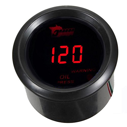 "Mintice™ 2"" 52mm Black Car Motor Digital Red LED Light Oil Press Pressure LED Gauge Meter from Mintice"