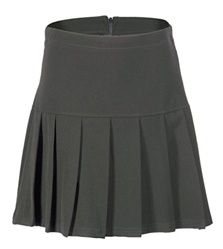 (UK 6-24) Girls Ladies School Drop Waisted Pleated Skirt Formal in Black Grey & Navy from Miss Chief