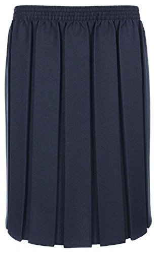Ages 2-20 Girls Ladies School Box Pleated Formal Elasticated Skirt (8 Colours)+ UK M, L, XL, XXL Navy from Miss Chief