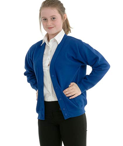 Miss Chief Girls School Cardigan Fleece Sweatshirt Uniform Schoolwear Age 2 3 4 5 6 7 8 9 10 11 12 13 14 + Adult Sizes Royal Blue from Miss Chief