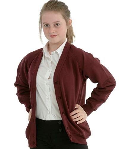 Miss Chief Girls Smart School Cardigan Sweatshirt Uniform Age 3 4 5 6 7 8 9 10 11 12 13 ((32) 11-12yrs, Burgundy) from Miss Chief