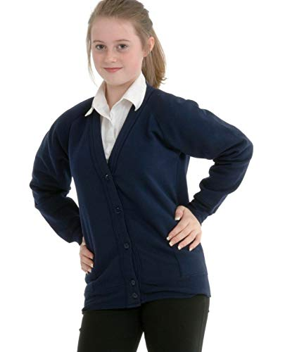 Girls Smart School Cardigan Sweatshirt Uniform Age 3 4 5 6 7 8 9 10 11 12 13 ((32) 11-12yrs, Navy) from Miss Chief