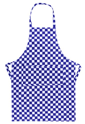Kids School Cotton Woodwork Craft Cookery Art Plain Apron Bib (Blue & White (Chequered)) from Miss Chief