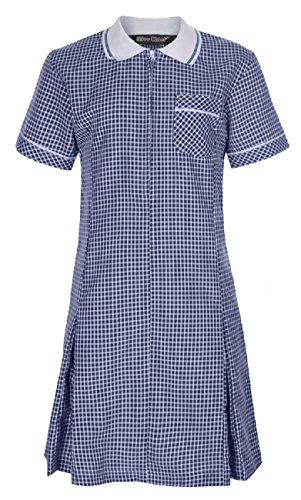 Miss Chief - Girl's School Pleated Gingham Summer Dress + Scrunchie Age 3 4 5 6 7 8 9 10 11 12 13 14 15 16 17 18 20 Navy Blue from Miss Chief