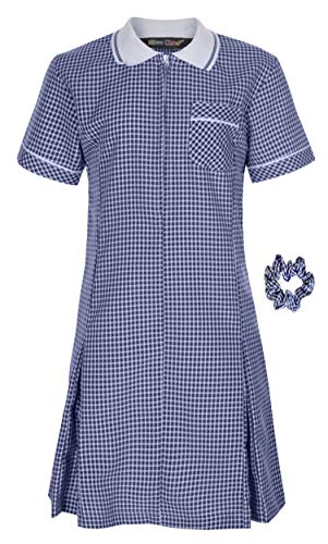 Miss Chief - Girl's School Uniform Pleated Gingham Summer Dress + Hair Bobble Age 3 4 5 6 7 8 9 10 11 12 13 14 15 16 17 18 20 Navy Blue from Miss Chief