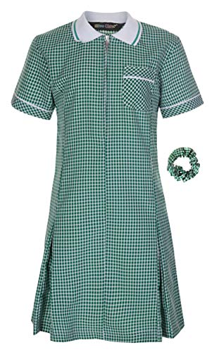 Miss Chief - Girl's School Uniform Pleated Gingham Summer Dress + Hair Bobble Age 3 4 5 6 7 8 9 10 11 12 13 14 15 16 17 18 20 Green from Miss Chief