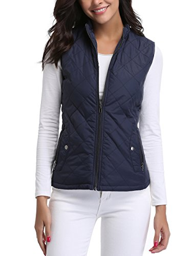 Miss Moly Women's Quilted Jacket Zip up Padded Quilted Zip Vest Navy Blue - L from Miss Moly