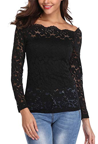 MISS MOLY Women's Sexy Floral Lace Blouse Shirt Long Sleeve Tunic Tops Strapless Elegant Black - M from MISS MOLY