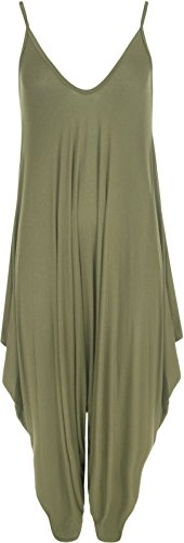 Womens Cami Baggy Strappy party Jumpsuit Ladies V-neck Drape hareem Playsuits (ML, Khaki) from Miss Moody Fashion