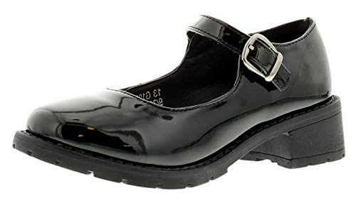 Miss Riot Dolly Girls Synthetic Material School Shoes Black/Patent - 4 UK from Miss Riot