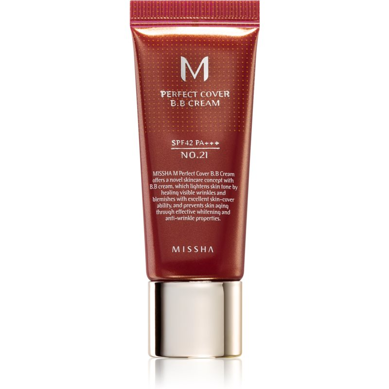 Missha M Perfect Cover BB Cream With Very High Sun Protection Small Pack Shade No. 21 Light Beige SPF 42/PA+++ 20 ml from Missha