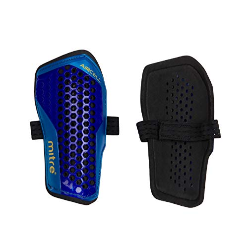 Mitre Aircell Carbon Slip Football Shin Pads, Blue/Cyan/Yellow, Small from Mitre