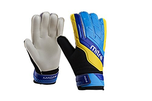Mitre Junior Magnetite Goalkeeper Gloves - Blue/Cyan/Yellow, Size 5 from Mitre