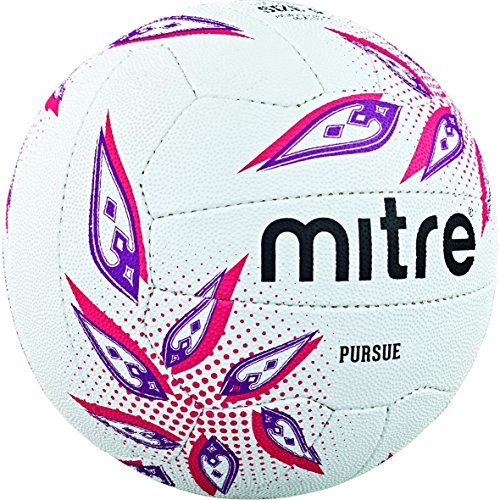 Mitre Pursue Professional Match Netball - White/Magenta/Purple, Size 5 from Mitre