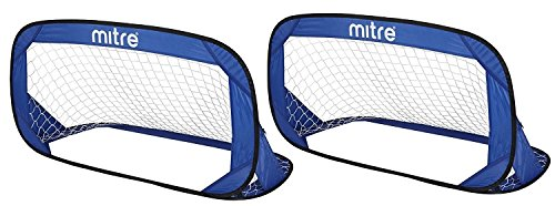 Mitre Quick Pop Up Football Goal Set, Blue/Black from Mitre