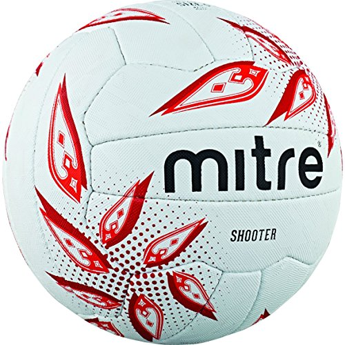 Mitre Shooter Match Netball - White/Red/Ruby, Size 4 from Mitre
