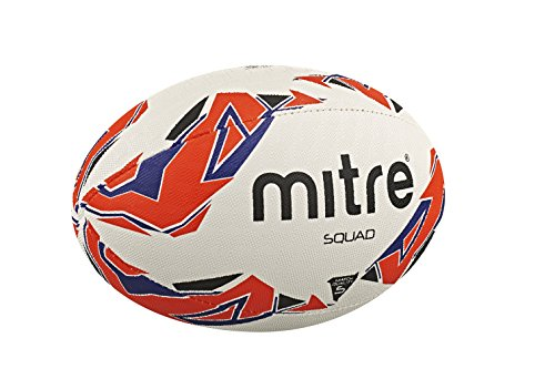 Mitre Squad Rugby Match Ball - White/Red/Blue, Size 5 from Mitre