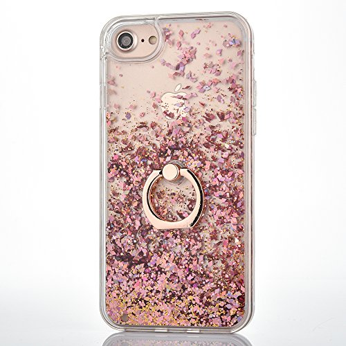 iPhone 6 6S Case [With Free Tempered Glass Screen Protector],Mo-Beauty® Flowing Liquid Floating Flowing Bling Shiny Sparkle Glitter Crystal Clear Plastic Hard Case Protective Shell Case Cover For Apple iPhone 6 6S (Rose gold) from Mo-Beauty