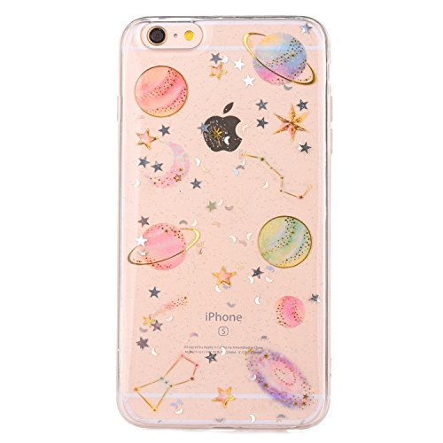 iPhone 7 Case,iPhone 8 Case [With Tempered Glass Screen Protector],Mo-Beauty Bling Shiny Cute Pattern Design Sparkle Glitter Soft TPU Silicone Gel Case Cover For Apple iPhone 7/8 4.7 Inch (Star) from Mo-Beauty