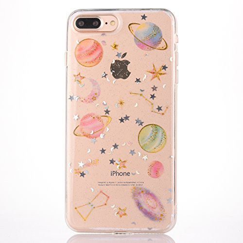 iPhone 7 Plus / iPhone 8 Plus Case [With Tempered Glass Screen Protector],Mo-Beauty Bling Cute Pattern Design Glitter Soft TPU Case Cover For Apple iPhone 7/8 Plus 5.5 Inch (Star) from Mo-Beauty