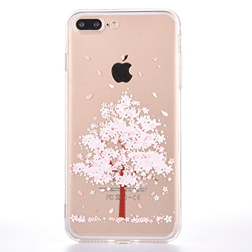 iPhone 8 Plus Case [With Free Tempered Glass Screen Protector],Mo-Beauty Sakura Pattern Design Soft TPU Back Cover Case for Apple iPhone 8 Plus 5.5 Inch (Pink) from Mo-Beauty