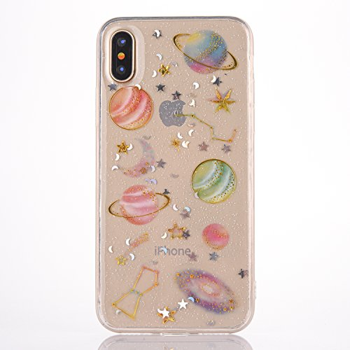"iPhone X/XS Case Clear [With Tempered Glass Screen Protector],Mo-Beauty Bling Shiny Cute Pattern Design Sparkle Glitter Soft TPU Case Cover For Apple iPhone X/XS 5.8"" (Star) from Mo-Beauty"