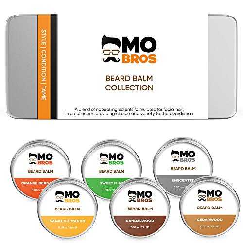 Beard Balm Collection | Leave in Conditioner to Style & Shape Your Beard | Non Greasy | Promotes Beard Growth and Shine | Stops Beard Irritation | 6 High Quality Scents in a Set from MO BRO'S