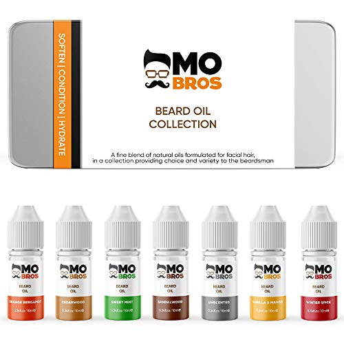Beard Oil Collection - Gifts for Men | 7 Premium Scents In A Tin | Natural Carrier Oils | Helps To Condition, Hydrate & Moisturise | Reduce Itching, Dandruff and Helps with Beard Growth | Beard Grooming Kit from MO BRO'S