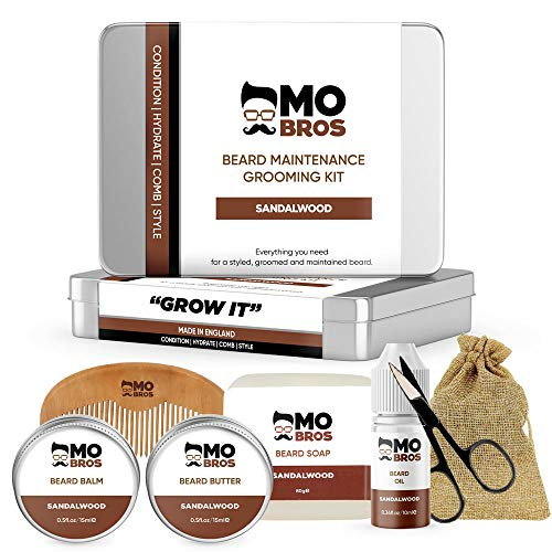 Beard Maintenance XL Grooming Kit | Perfect Gifts for Men | Sandalwood | Beard Oil | Beard Balm | Soap | Comb & Scissors | Beard Grooming Gift Set for Him from MO BRO'S