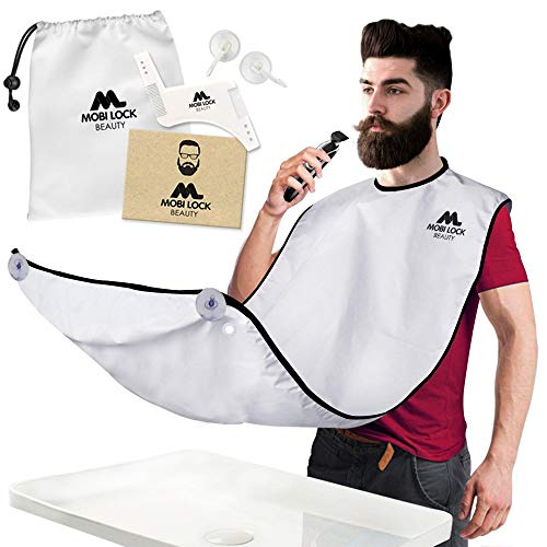 Best Beard Shaving Bib - The Smart Way to Shave - Beard Trimming Apron 48 X 32 inch 122 X 81 cm - Perfect Grooming Gift or Mens Birthday Gift - Includes Free Shaping Comb, Bag, and Grooming E-book by Mobi Lock from Mobi Lock