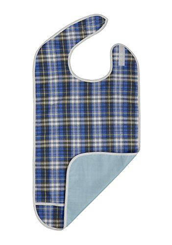 Adult Bib - Reusable Clothing Protector - Waterproof - Crumb Catcher - Machine Washable - Extra Long Senior Men and Women Bibs for Eating by Modaliv (Blue) from Modaliv
